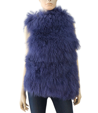 ANN DEMEULEMEESTER Sleeveless Fur Coat Purple Sheepskin Wrap Vest S