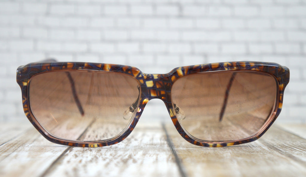ALAIN MIKLI Square Brown Blue Marbled Eyeglass Frames