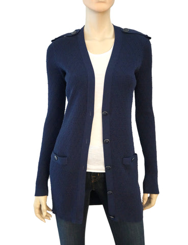 CHANEL 16P Navy Blue Cotton Silk Knit Button Cardigan Sweater 36 US 2