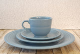 FIESTAWARE Vintage Blue 4 pc Place Setting Dinner Dessert Coupe Cup and Saucer