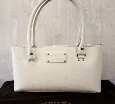 KATE SPADE Grained White Leather East-West Shopper Tote Bag