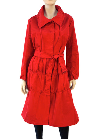 PRADA Red Silk Blend Trench Coat, IT 50 / US 14