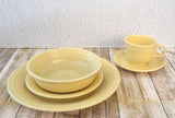 FIESTAWARE Vintage Yellow 5 pc Place Setting Dinner Dessert Coupe Cup and Saucer