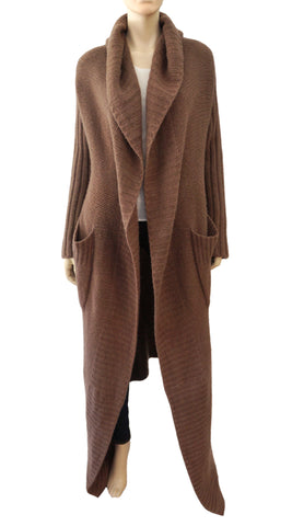 RICK OWENS Brown Cashmere Knit Long Cardigan Sweater Coat 40 US 4