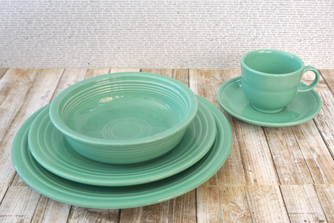 FIESTAWARE Vintage Sea Mist 5 pc Place Setting Dinner Luncheon Bowl Cup Saucer