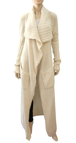 RICK OWENS Floor Length Ivory Cashmere Cardigan Ribbed Open Front  40 US 4