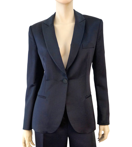 fef53626b GIORGIO ARMANI BLACK LABEL Navy Peaked Lapel Silk Blend Blazer Jacket 46 US  10