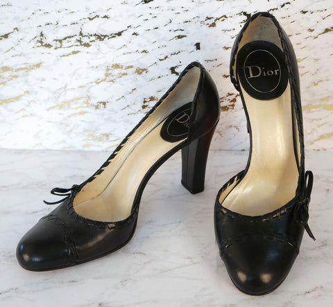 CHRISTIAN DIOR 39 Black Leather Cap Toe Pumps d Orsay Heels 8 8.5