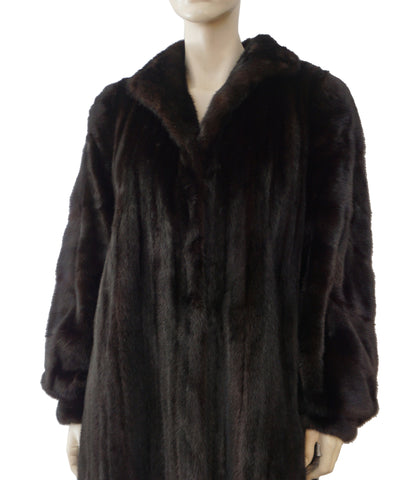ADOLFO Blackglama Dark Ranch Mink Fur Stroller Coat L XL