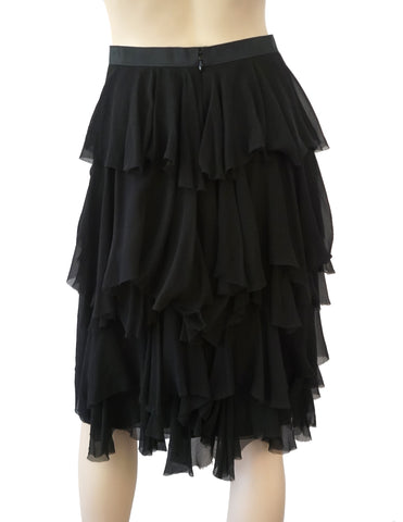LANVIN Tiered Ruffled Black Silk Chiffon Straight Skirt 40 US 8