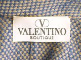 VALENTINO BOUTIQUE Blue Brown Wool Check Button Front Jacket L