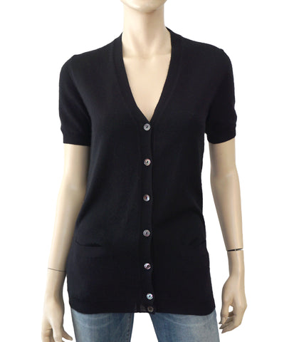 DOLCE & GABBANA Short Sleeve Black Cashmere V-Neck Cardigan Sweater S