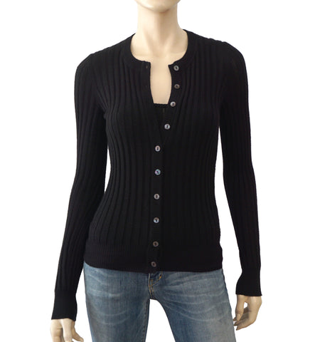 DOLCE & GABBANA Rib Knit Black Cashmere Cardigan Sweater 40 US 4