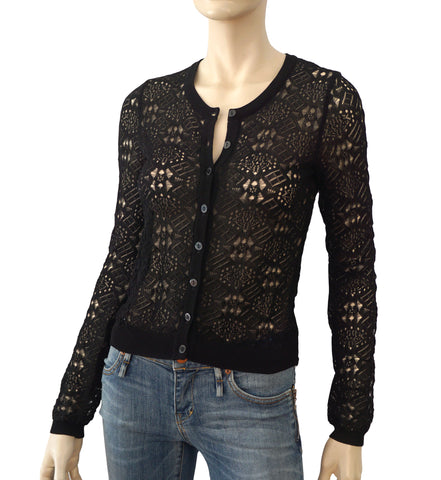 DOLCE & GABBANA Sheer Black Crochet Knit Cardigan XS