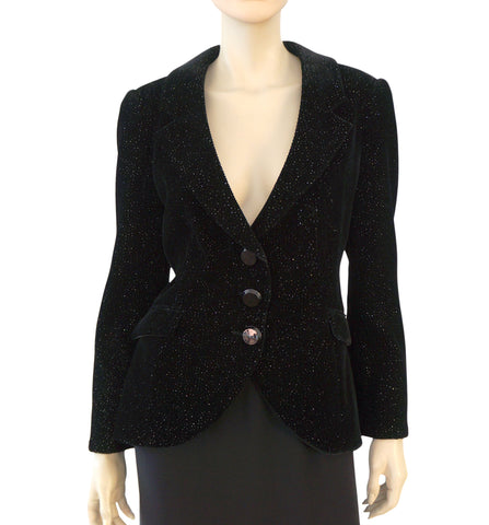 GIORGIO ARMANI BLACK LABEL Womens Metallic Corduroy Blazer Jacket 46 US 12 NEW