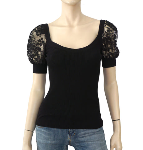 DOLCE & GABBANA Black Ribbed Knit Lace Sleeve Top Sweater 38 US 2 BRAND NEW