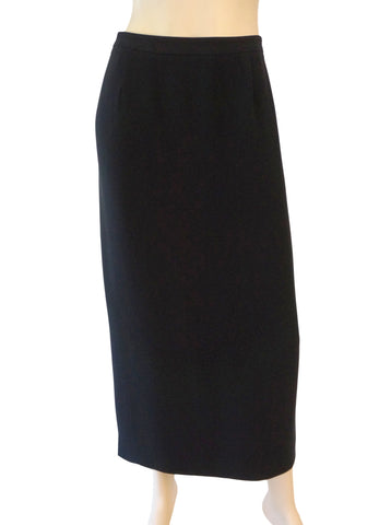 6a9c626d4 GIORGIO ARMANI BLACK LABEL Black Silk Ruched Midi Skirt 46 US 10 NEW