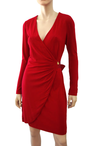 LOVE MOSCHINO Cranberry Red Wool Jersey Wrap Dress 44 US 8 NEW WITH TAGS