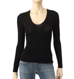 DOLCE & GABBANA Long Sleeve Black Pointelle Knit Sweater 40 US 4