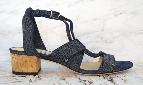 9eed7a81174 JIMMY CHOO 38 Margo Ghillie Light Indigo Denim Leather Sandals Heels 7.5 NEW