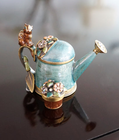 JAY STRONGWATER Teal Enamel Crystal Watering Can with Chimpmunk
