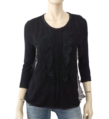 LANVIN 3/4 Sleeve Black Ruffled Lace Trimmed Stretch Jersey Knit Top S
