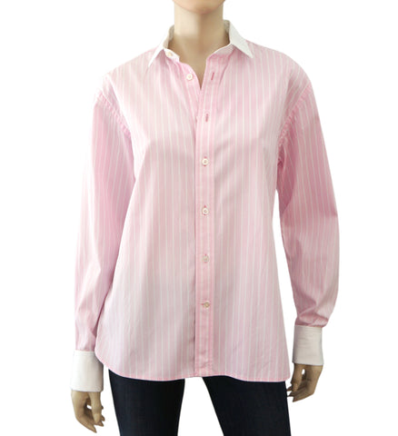 RALPH LAUREN COLLECTION Pink White Striped Button Down French Cuff Shirt 14