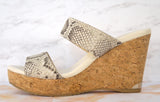 JIMMY CHOO 38 Parker Watersnake Print Cork Wedge Platform Slide Sandals 7.5