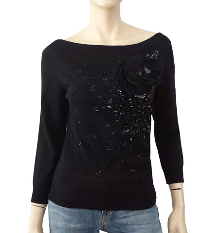VALENTINO Embellished Floral Applique Black Knit Sweater L NEW WITH TAGS