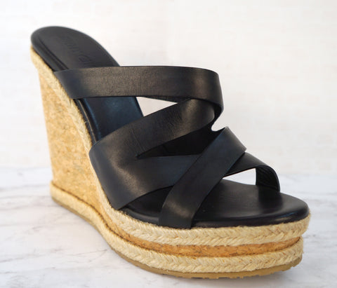 JIMMY CHOO 39 Prisma Black Leather Espadrille Wedges Sandals 8.5 BRAND NEW