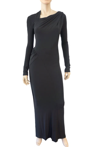DONNA KARAN NEW YORK Black Jersey Long Sleeve Asymmetric Gown Dress S NEW