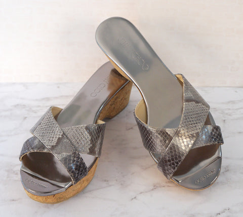 JIMMY CHOO 37.5 Panna Gray Snakeskin Cork Wedges Sandals 7 NEW