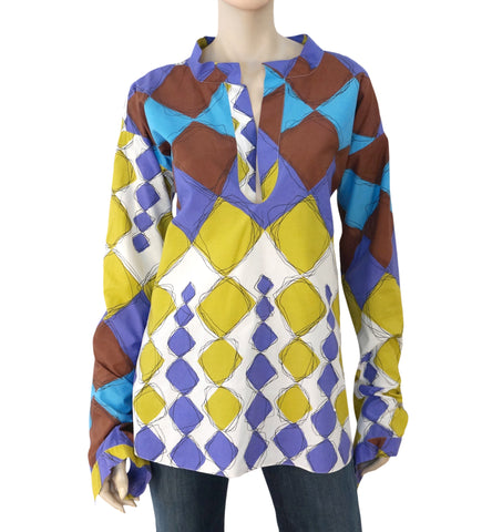 MARNI Long Sleeve Multi-Color Printed Cotton Tunic Top Blouse 44 US 8