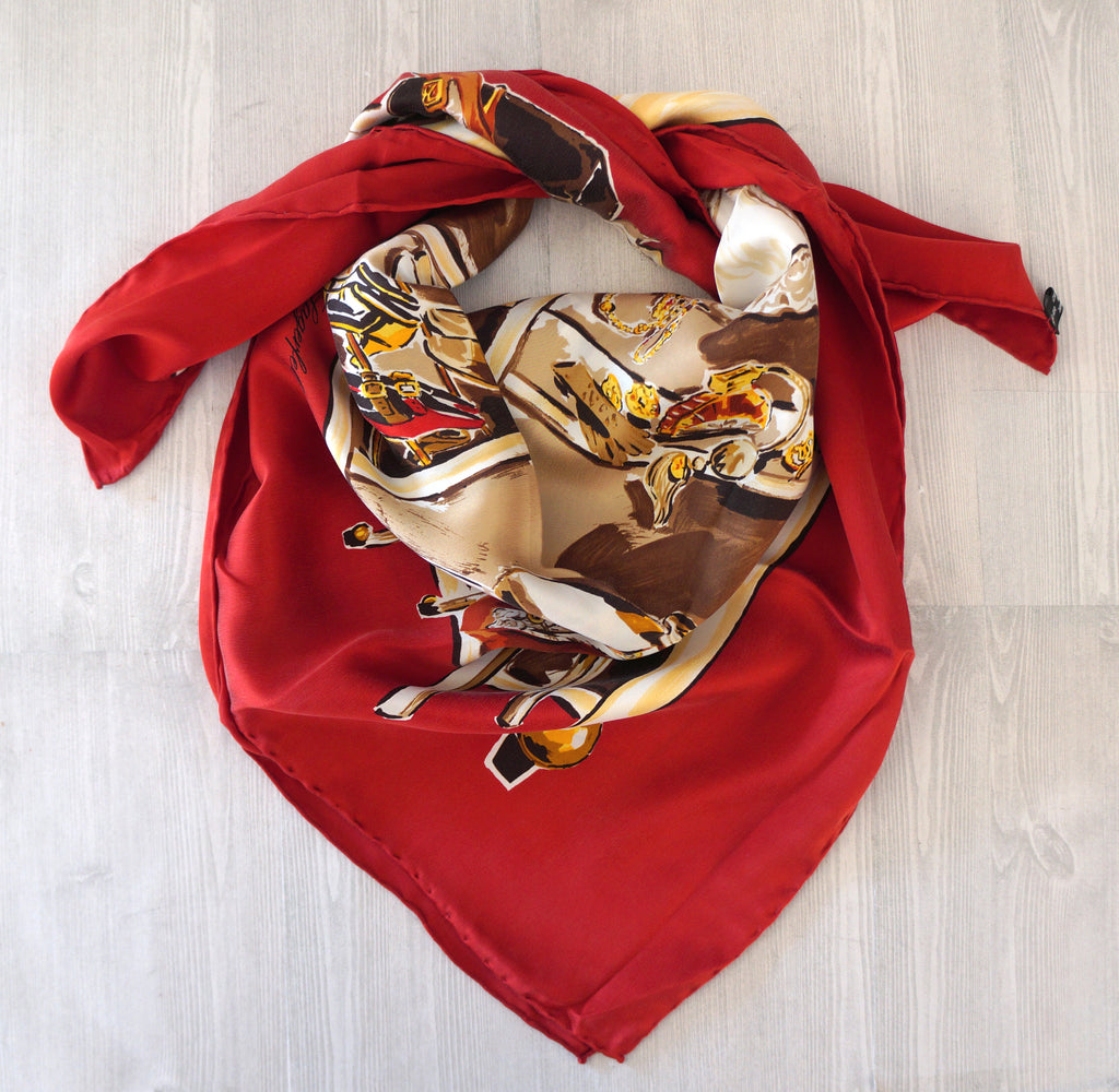 KARL LAGERFELD Red Multi-Color Silk Closet Print Scarf NEW AUTHENTIC