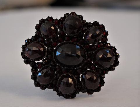 "ANTIQUE Large Bohemian Rose Cut Garnet Czech Brooch Pin 2"" 25g"