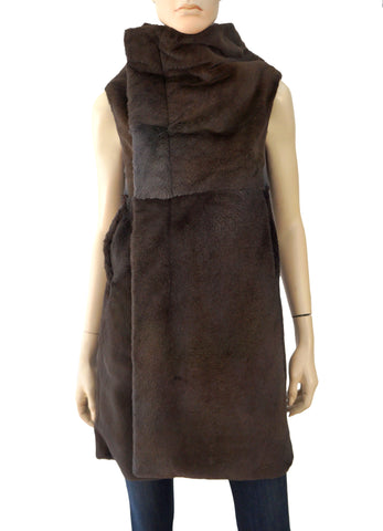 RICK OWENS Women's Taupe Gray Funnel Neck Kangaroo Fur Coat Jacket 40 US 4 NEW