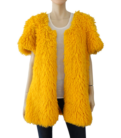 432a6c7f2 VINTAGE Saffron Yellow Faux Fur Swing Jacket Short Coat S M