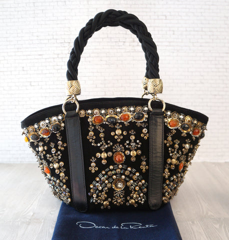 OSCAR DE LA RENTA Embellished Black Suede Braided Handle Tote Evening Bag NEW