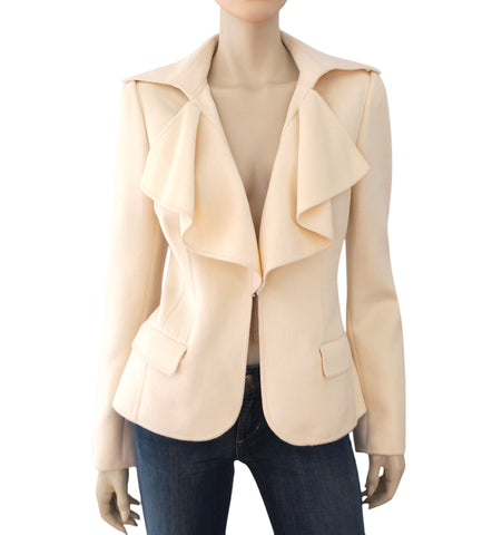 OSCAR DE LA RENTA Ruffled Ivory Orylag-Blend Felted Jacket Coat 12