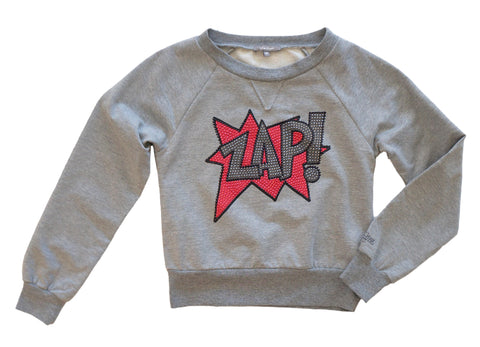 MISS GRANT Gray Cotton Blend Graphic Zap Sweatshirt Top Girls 10-11