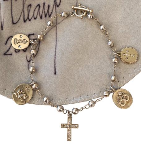 DEVON PAGE McCLEARY 14K Diamond Cross Ganesha Lotus Ohm Charm Bracelet 7 in
