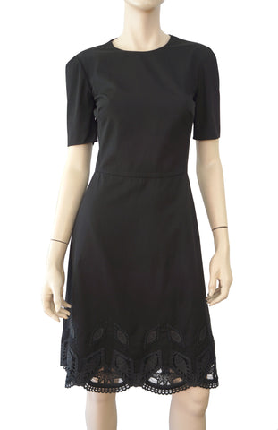 RALPH LAUREN COLLECTION Bettina Black Cotton Poplin Leather Trim Dress 2 NWT
