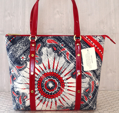ST. JOHN Red White Blue Bandana Print Patent Trim Tote Bag NWT $530
