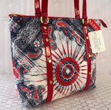 ST. JOHN Red White Blue Bandana Print Patent Trim Tote Bag NWT