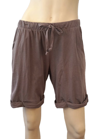 291 FROM VENICE Brown Cotton Jersey Drawsting Shorts L BRAND NEW