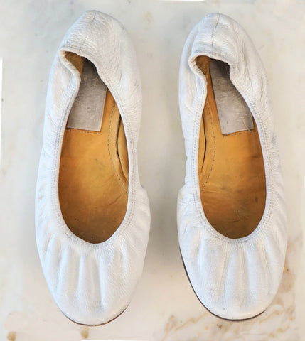 LANVIN 35 White Leather Ballet Flats 5