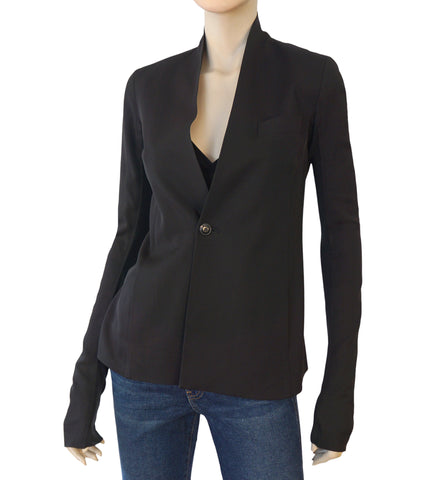 RICK OWENS Black Wool Blend Single Button Blazer Jacket 40 US 2