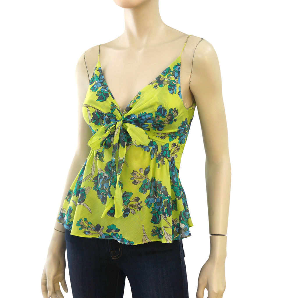 ALESSANDRO DELL'AQUA Apple Green Floral Cotton Silk Top 38 US 2