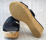 JIMMY CHOO 40 Navy Blue Leather Patina Cork Wedge Sandals 9.5 NEW