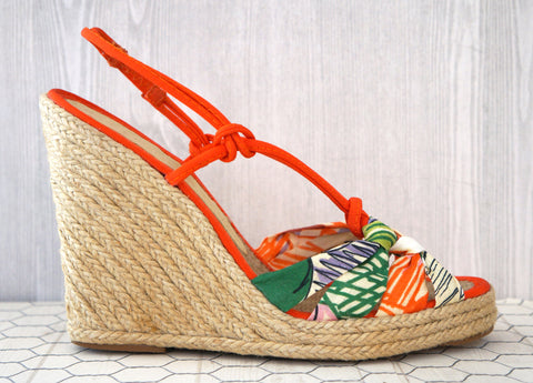 STELLA MCCARTNEY 37 Strappy Multi Color Espadrille Wedge Sandals 6.5 NEW